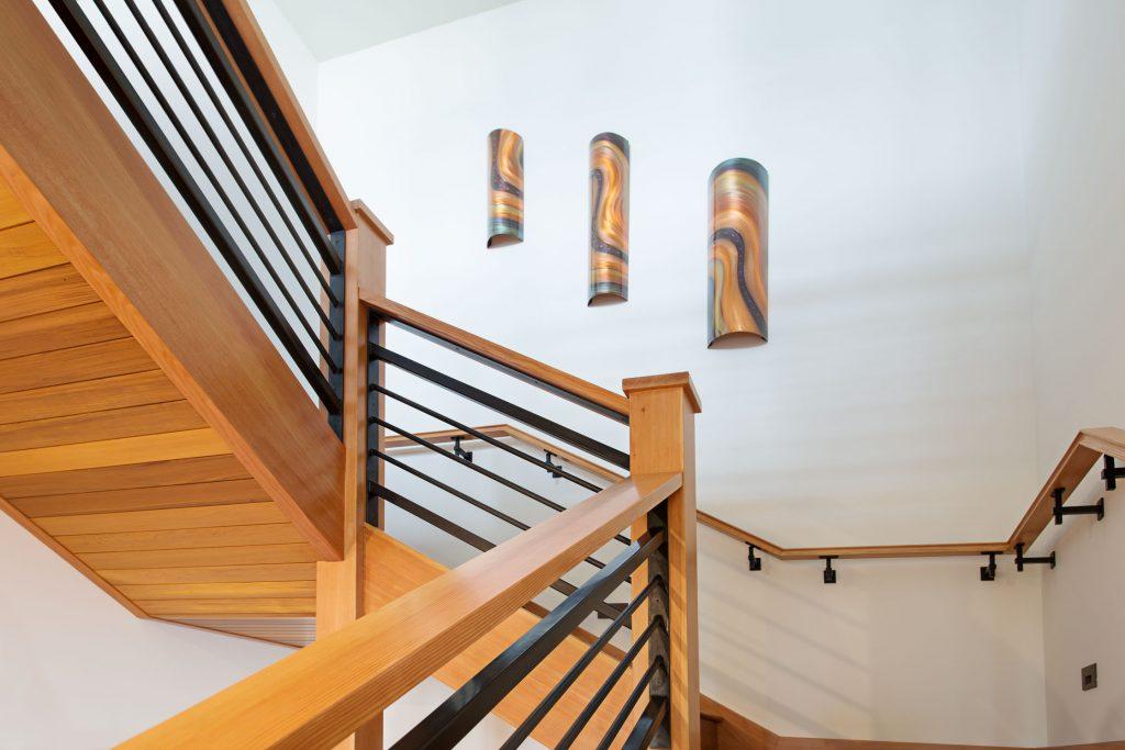 Bellingham built metal and cherry stairway and railings