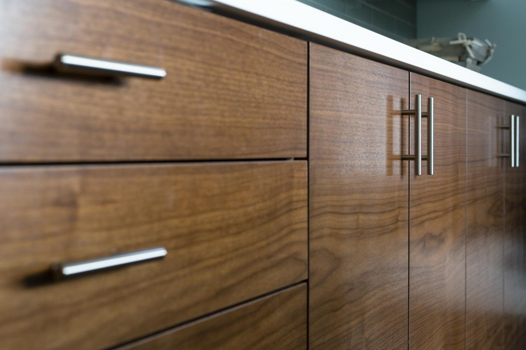 Smith and Vallee custom walnut kitchen cabinets