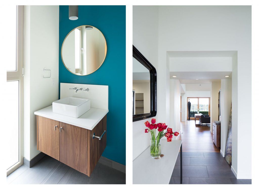 Fun, bright blue wall in a custom bathroom remodel in Bellingham.