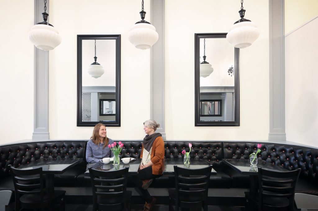 Bellingham restaurant remodeling, Pure Bliss desserts banquette